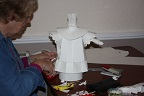 Some of Shelaghs Demonstration Figures at Marchington Church Paper Sculpture Workshops in Staffordshire
